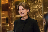 Lockheed Martin CEO Marillyn Hewson speaks with the press following her meeting with President-elect Donald Trump at Trump Tower in New York, NY, USA on January 13, 2017.  Credit: Albin Lohr-Jones / Pool via CNP
