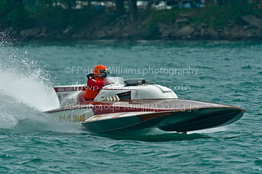 """13 July 2008  APBA Gold Cup.Mike Tucker, H-1 """"Miss Crazy Thing"""" 7 Litre class Lauterbach hydroplane.©2008 F.Peirce Williams."""