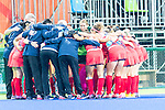 The USA team and staff huddle before the USA vs Japan Pool B game at the Rio 2016 Olympics at the Olympic Hockey Centre in Rio de Janeiro, Brazil.