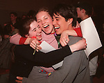 BOSTON- At the High School Drama Festival, Elizabeth Shapiro, Molly Powers, and Aaron Edelstein celebrate Lexington High School's win. 3/27/99. Boston Globe Photo by Bethany Versoy.RESTRICTED USE.NOT FOR REPBULICATION WITHOUT EXPLICIT APPROVAL FROM DIRECTOR OF PHOTOGRAPHY.