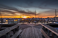The public observaton deck at the San Leandro Marina, at sunset on a winter evening.