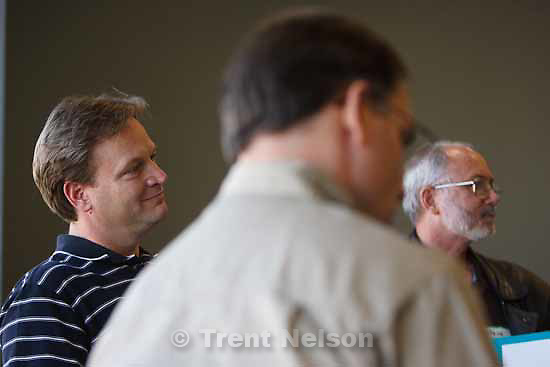 The K2 Church hosted a meeting Thursday, November 19 2009 of 66 pastors from throughout the country who in some way are involved in planting new Protestant churches in Utah. Left to right- Dave Nelson, Rob Lee, Steve Craner.