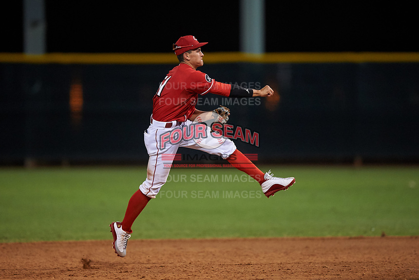 AZL Reds shortstop Yan Contreras (51) throws to first base during an Arizona League game against the AZL Athletics Green on July 21, 2019 at the Cincinnati Reds Spring Training Complex in Goodyear, Arizona. The AZL Reds defeated the AZL Athletics Green 8-6. (Zachary Lucy/Four Seam Images)