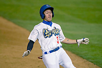 Rancho Cucamonga Quakes  Jeren Kendall (3)  slides into third base at LoanMart Field on April 12, 2018 in Rancho Cucamonga, California. The 66ers defeated the Quakes 5-4.  (Donn Parris/Four Seam Images)