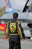 A Turkish pilot with tiger jacket. Nato Tiger Meet is an annual gathering of squadrons using the tiger as their mascot. While originally mostly a social event it is now a full military exercise. Tiger Meet 2012 was held at the Norwegian air base Ørlandet.