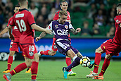 November 4th 2017, nib Stadium, Perth, Australia; A-League football, Perth Glory versus Adelaide United; Adam Taggart of the Perth Glory has a shot for goal during the first half
