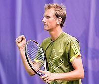 16-6-09, Rosmalen, Tennis, Ordina Open 2009, Thiemo de Bakker   maakt een vuist nadat hij zich heeft geplaatst voor de tweede ronde