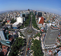 aerial photograph of the Paseo de La Reforma at the Fuente de la Diana Cazadora (Diana the Huntress Fountain) Mexico City, Mexico