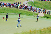 Tyrell Hatton (ENG) after sinking his putt on 12 during Friday's round 2 of the 117th U.S. Open, at Erin Hills, Erin, Wisconsin. 6/16/2017.<br /> Picture: Golffile | Ken Murray<br /> <br /> <br /> All photo usage must carry mandatory copyright credit (&copy; Golffile | Ken Murray)
