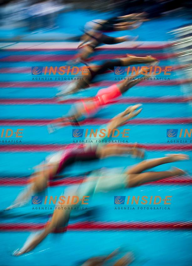 The start<br /> Swimming - Women's  100m freestyle heats<br /> Day 14 06/08/2015<br /> XVI FINA World Championships Aquatics Swimming<br /> Kazan Tatarstan RUS July 24 - Aug. 9 2015 <br /> Photo Giorgio Perottino/Deepbluemedia/Insidefoto