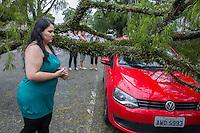 CURITIBA, PR, 05 DE DEZEMBRO 2013 – CLIMA TEMPO/ TEMPESTADE/CURITIBA -  Na tarde dessa quinta-feira(05), uma frente fria chega a capital Paranaense,com ventos atingindo 59km/h. Na rua Desembargador Otavio Amaral, árvore cai em cima de automóvel e bloqueando totalmente a via. Na foto,Luciane, proprietária do automóvel.(FOTO: PAULO LISBOA  / BRAZIL PHOTO PRESS)