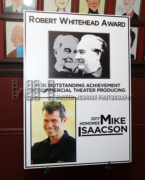 The Robert Whitehead Award presented to Mike Isaacson at Sardi's on May 10, 2017 in New York City.