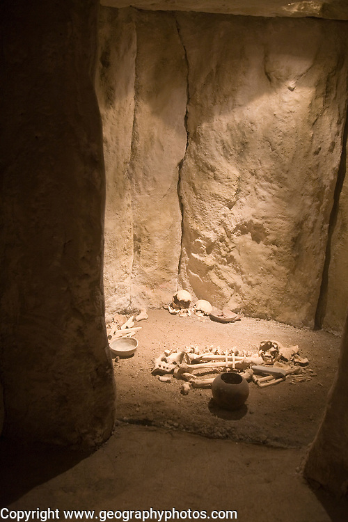Stone age burial reconstruction in dolmen tomb in the municipal city museum, Ronda, Spain