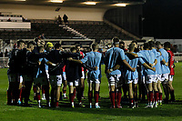 London Scottish huddle whilst London Scottish head coach, Graham Steadman briefs them during the Championship Cup match between London Scottish Football Club and Yorkshire Carnegie at Richmond Athletic Ground, Richmond, United Kingdom on 4 October 2019. Photo by Carlton Myrie / PRiME Media Images