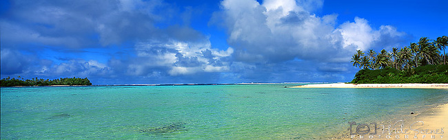 Beach on Huahini,French Polynesia<br /> <br /> Image taken on large format panoramic 6cm x 17cm transparency. Available for licencing and printing. email us at contact@widescenes.com for pricing.