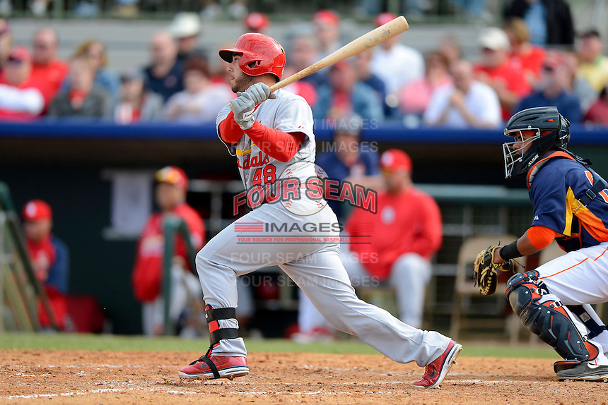 St. Louis Cardinals first baseman Tony Cruz #48 during a Spring Training game against the Houston Astros at Osceola County Stadium on March 1, 2013 in Kissimmee, Florida.  The game ended in a tie at 8-8.  (Mike Janes/Four Seam Images)