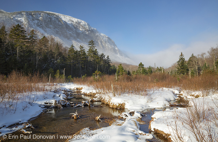 Franconia Notch State Park - Snow blows over Cannon Mountain from along the Pemi Trail in the White Mountains, New Hampshire.