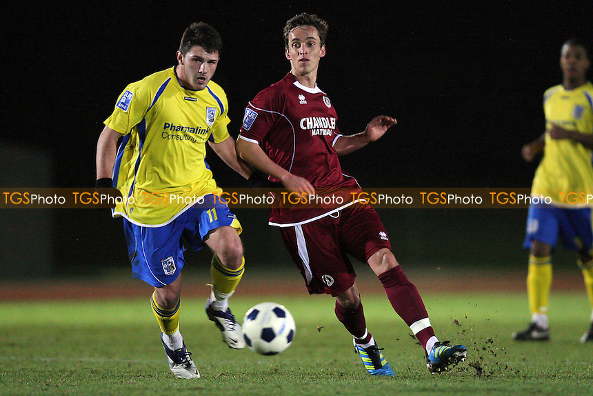 Sam Corcoran of Chelmsford and Max Worsfold of Maidenhead - Chelmsford City vs Maidenhead United - Blue Square Conference South Football at Melbourne Park Stadium, Chelmsford, Essex - 05/12/11 - MANDATORY CREDIT: Gavin Ellis/TGSPHOTO - Self billing applies where appropriate - 0845 094 6026 - contact@tgsphoto.co.uk - NO UNPAID USE.