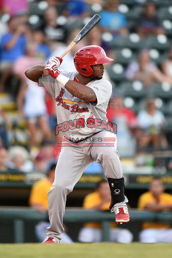 Palm Beach Cardinals outfielder Anthony Garcia (44) at bat during a game against the Bradenton Marauders on June 23, 2014 at McKechnie Field in Bradenton, Florida.  Bradenton defeated Palm Beach 11-6.  (Mike Janes/Four Seam Images)