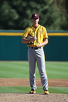 Ryan Hingst (17) of the Arizona State Sun Devils pitches against the Long Beach State Dirtbags at Blair Field on February 27, 2016 in Long Beach, California. Long Beach State defeated Arizona State, 5-2. (Larry Goren/Four Seam Images)
