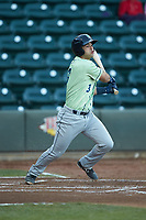 Sebastian Rivero (3) of the Wilmington Blue Rocks at bat against the Winston-Salem Dash at BB&T Ballpark on April 15, 2019 in Winston-Salem, North Carolina. The Dash defeated the Blue Rocks 9-8. (Brian Westerholt/Four Seam Images)