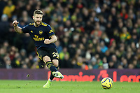 1st December 2019; Carrow Road, Norwich, Norfolk, England, English Premier League Football, Norwich versus Arsenal; Shkodran Mustafi of Arsenal - Strictly Editorial Use Only. No use with unauthorized audio, video, data, fixture lists, club/league logos or 'live' services. Online in-match use limited to 120 images, no video emulation. No use in betting, games or single club/league/player publications