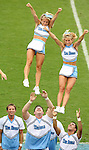 06 October 2007: UNC cheerleaders. The University of North Carolina Tar Heels defeated the University of Miami Hurricanes 33-27 at Kenan Stadium in Chapel Hill, North Carolina in an Atlantic Coast Conference NCAA College Football Division I game.