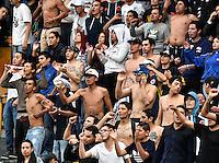 BOGOTA - COLOMBIA -30 -07-2016: Hinchas de Millonarios animan a su equipo durante el encuentro entre Millonarios y Rionegro Águilas por la fecha 6 de la Liga Aguila II 2016 jugado en el estadio Nemesio Camacho El Campin de la ciudad de Bogota./ Fans of Millonarios cheer for their team during the match between Millonarios and Rionegro Aguilas for the date 6 of the Liga Aguila II 2016 played at the Nemesio Camacho El Campin Stadium in Bogota city. Photo: VizzorImage / Gabriel Aponte / Staff.