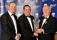 At the Bord G&aacute;is Energy Munster GAA Sports Star of the Year Awards in The Malton Hotel, Killarney on Saturday night were front from left, Dave Kirwan, Managing Director, Bord Gais Energy Davy Fitzgerald, Clare Manager, Manager of the Year award  and Robert Frost, Chairman, Munster GAA.<br /> Picture by Don MacMonagle<br /> <br /> PR photo from Munster Council