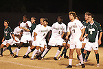 8 December 2007: Players lined up along the offside restraining line set up by the defense all begin to lean toward goal as Wake Forest takes a free kick (not pictured).  Players shown include Wake Forest's Austin da Luz (6), Marcus Tracy (9) and Cody Arnoux (17) and Notre Dame's Jack Traynor (5). Wake Forest University defeated Notre Dame University 1-0 in overtime at Spry Stadium in Winston-Salem, NC in an NCAA Men's Soccer tournament quarterfinal.
