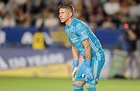 CARSON, CA - SEPTEMBER 21: David Bingham #1 of the Los Angeles Galaxy defends his goal during a game between Montreal Impact and Los Angeles Galaxy at Dignity Health Sports Park on September 21, 2019 in Carson, California.
