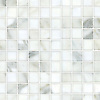 """Gridded 3"""", a hand-cut stone mosaic, shown in polished Calacatta."""