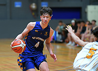 Action from the 2019 Schick AA Boys' National Secondary Schools Basketball Championships 9th place playoff between Auckland Grammar School and St John's College at the Central Energy Trust Arena in Palmerston North, New Zealand on Saturday, 5 October 2019. Photo: Dave Lintott / lintottphoto.co.nz