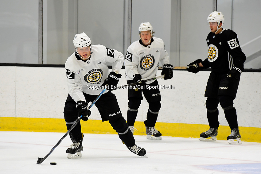 June 28, 2018: Boston Bruins forward Jack Becker (72) shoots the puck during the Boston Bruins development camp held at Warrior Ice Arena in Brighton Mass. Eric Canha/CSM
