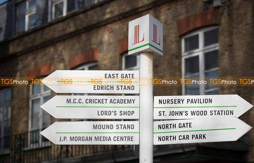 Pointing the way at Lords during Middlesex CCC vs Lancashire CCC, Specsavers County Championship Division 2 Cricket at Lord's Cricket Ground on 11th April 2019
