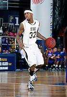 Florida International University guard Jeremy Allen (32) plays against Florida Memorial University in an exhibition game .  FIU won the game 86-69 on November 9, 2011 at Miami, Florida. .