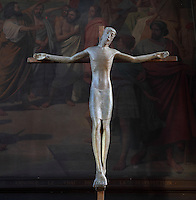 Christ crucified, modern sculpture,  Eglise Saint-Sulpice (St Sulpitius' Church), c.1646-1745, late Baroque church on the Left Bank, Paris, France. Picture by Manuel Cohen