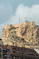 Spain, Alicante, a beach town and historic Mediterranean port. Santa Barbara castle on the hill.