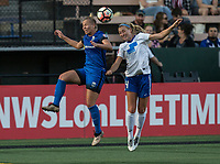 Seattle, WA - Saturday July 15, 2017: Merritt Mathias, Megan Oyster during a regular season National Women's Soccer League (NWSL) match between the Seattle Reign FC and the Boston Breakers at Memorial Stadium.