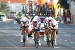 Trek-Segafredo in action during Stage 1 of La Vuelta 2019, a team time trial running 13.4km from Salinas de Torrevieja to Torrevieja, Spain. 24th August 2019.<br /> Picture: Luis Angel Gomez/Photogomezsport | Cyclefile<br /> <br /> All photos usage must carry mandatory copyright credit (© Cyclefile | Luis Angel Gomez/Photogomezsport)