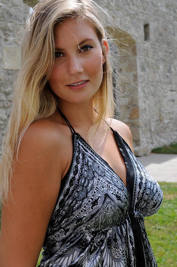 Beautiful Young female model summer shoot historic mill setting