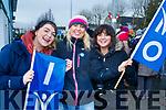 Colleen Arthurs, Janet Grunau, and Katie O'Sullivan INMO Nurses on strike at University Hospital Kerry on Wednesday morning.