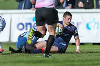 Robbie Fergusson of London Scottish scores his team's 2nd try of the game during the Greene King IPA Championship match between London Scottish Football Club and Bedford Blues at Richmond Athletic Ground, Richmond, United Kingdom on 25 March 2017. Photo by David Horn / PRiME Media Images.