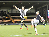 Calum Gallagher tries to block the clearance of Craig Sibbald in the St Mirren v Falkirk Scottish Professional Football League Ladbrokes Championship match played at the Paisley 2021 Stadium, Paisley on 1.3.16.