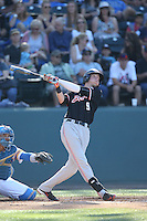 Elliott Cary (9) of the Oregon State Beavers bats during a game against the UCLA Bruins at Jackie Robinson Stadium on April 4, 2015 in Los Angeles, California. UCLA defeated Oregon State, 10-5. (Larry Goren/Four Seam Images)