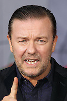 """HOLLYWOOD, LOS ANGELES, CA, USA - MARCH 11: Ricky Gervais at the World Premiere Of Disney's """"Muppets Most Wanted"""" held at the El Capitan Theatre on March 11, 2014 in Hollywood, Los Angeles, California, United States. (Photo by Xavier Collin/Celebrity Monitor)"""