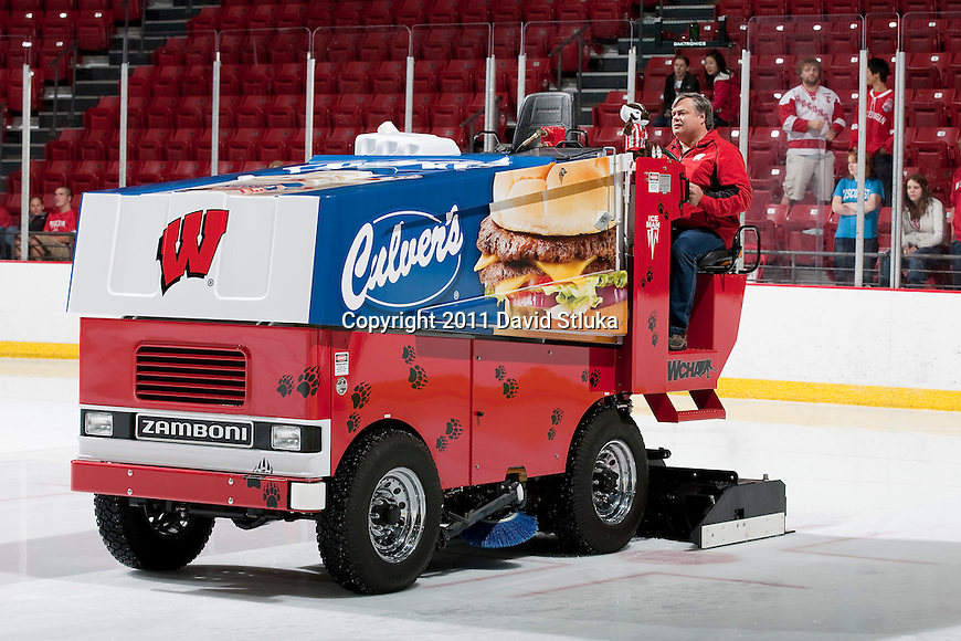 A Zamboni driver coats the ice during the Wisconsin Badgers NCAA Women's College Hockey game against Lindenwood University Lions on September 23, 2011 in Madison, Wisconsin. The Badgers won 11-0. (Photo by David Stluka)