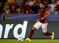 Calcio, Champions League, Gruppo E: Roma vs Barcellona. Roma, stadio Olimpico, 16 settembre 2015.<br /> Roma&rsquo;s Mohamed Salah in action during a Champions League, Group E football match between Roma and FC Barcelona, at Rome's Olympic stadium, 16 September 2015.<br /> UPDATE IMAGES PRESS/Riccardo De Luca<br /> <br /> *** ITALY AND GERMANY OUT ***