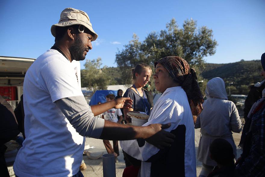 Food distribution at Moria Camp