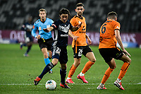 29th July 2020; Bankwest Stadium, Parramatta, New South Wales, Australia; A League Football, Melbourne Victory versus Brisbane Roar; Marco Rojas of Melbourne Victory takes a shot on goal as Macaulay Gillesphey of Brisbane Roar tries to block